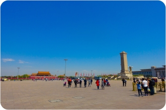 Photos cannot truly convey how vast Tian'anmen Square is. Beijing is a city where everything is supersized. The roads run for miles in straight lines. This square, world-famous (or infamous) for the protests of 1989, is around 44ha.